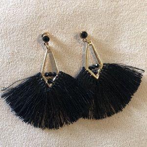 Gold black tassel fringe beaded earrings